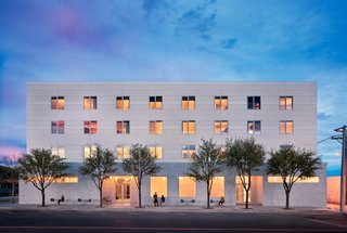 Hotel Saint George is Marfa's newest hotel, and mixes a nod to the town's military and industrial history with high-end finishes and products in both public and private spaces.