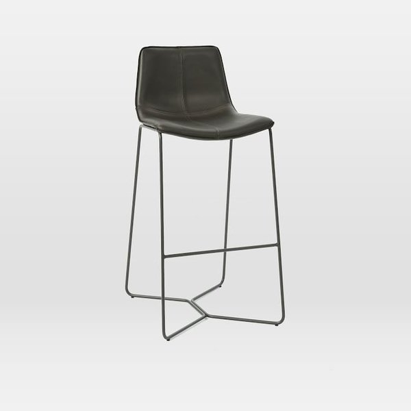 West Elm Slope Leather Bar + Counter Stool