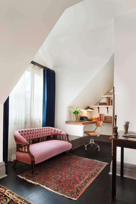 Living Room, Rug Floor, Desk, Dark Hardwood Floor, Chair, Table Lighting, and Sofa  The High Line Hotel