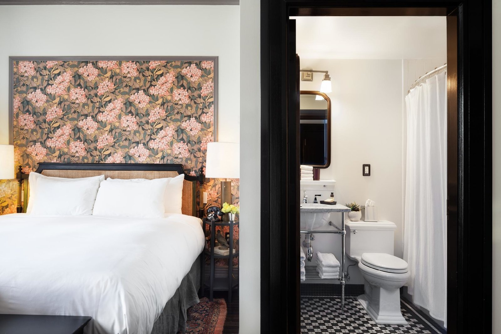 Bedroom, Bed, Dark Hardwood Floor, Table Lighting, Night Stands, and Rug Floor  The High Line Hotel