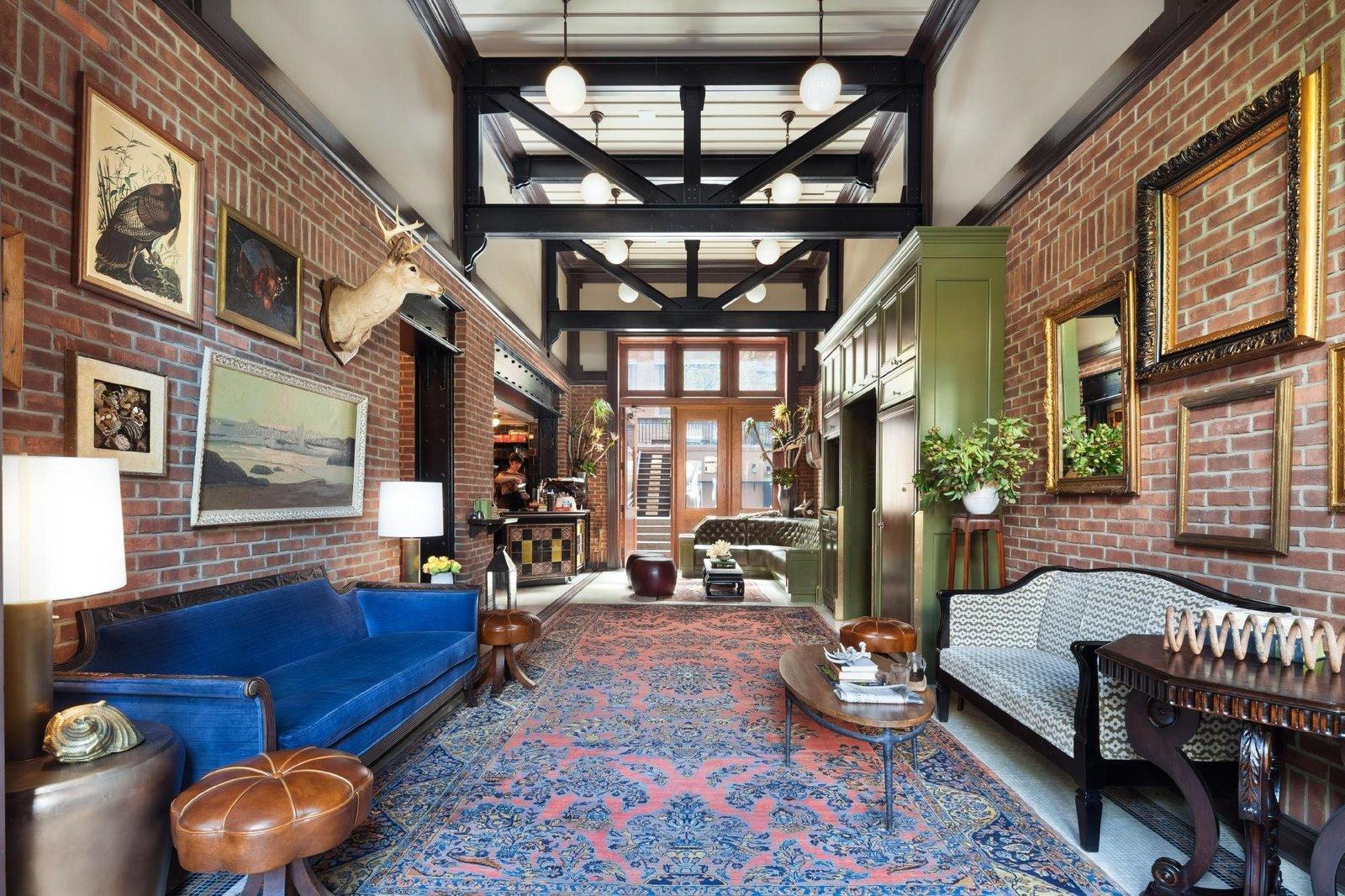 Living Room, Coffee Tables, Rug Floor, Stools, Pendant Lighting, Table Lighting, and Sofa  The High Line Hotel