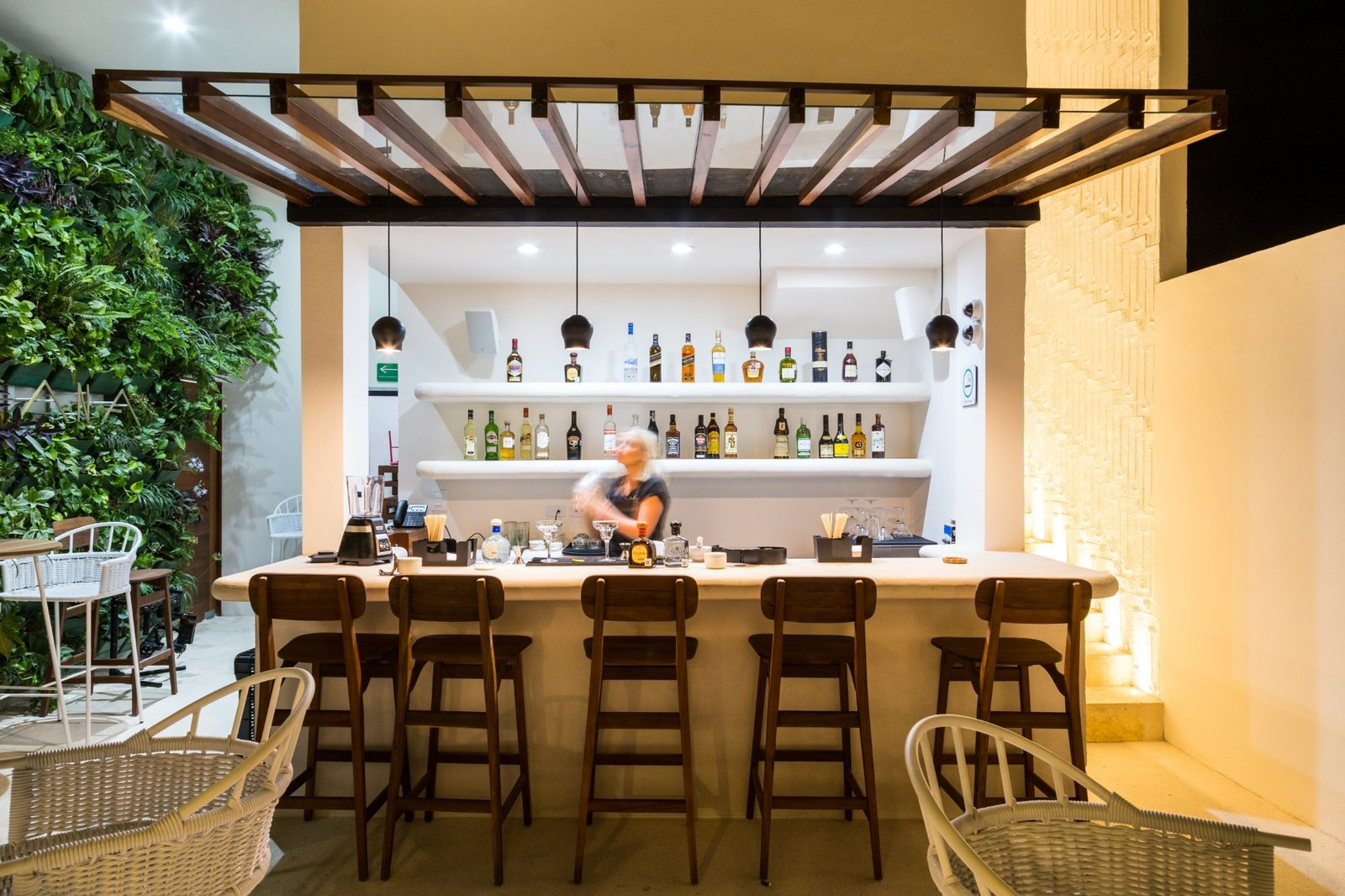 Dining Room, Concrete Floor, Bar, Recessed Lighting, and Pendant Lighting  Hotel Morgana