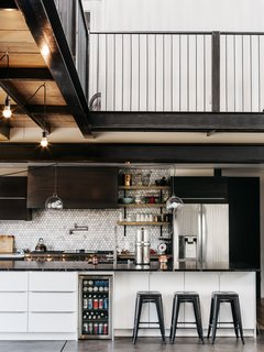 The kitchen cabinets are from IKEA and the full refrigerator is by LG.
