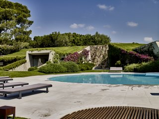 The limestone-encircled pool was updated as part of a broader landscape renovation.