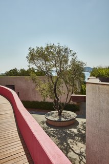 """The sheltered courtyard, known as the """"piazzetta,"""" is a favorite gathering spot."""