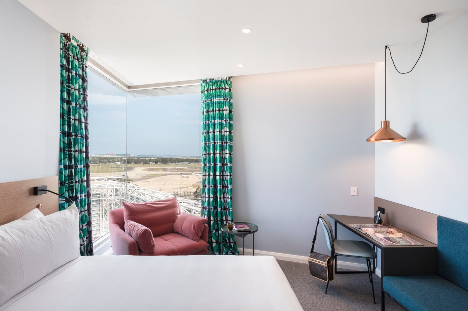 Bedroom, Recessed Lighting, Pendant Lighting, Chair, Carpet Floor, Wall Lighting, and Bed  Photos from Felix Hotel
