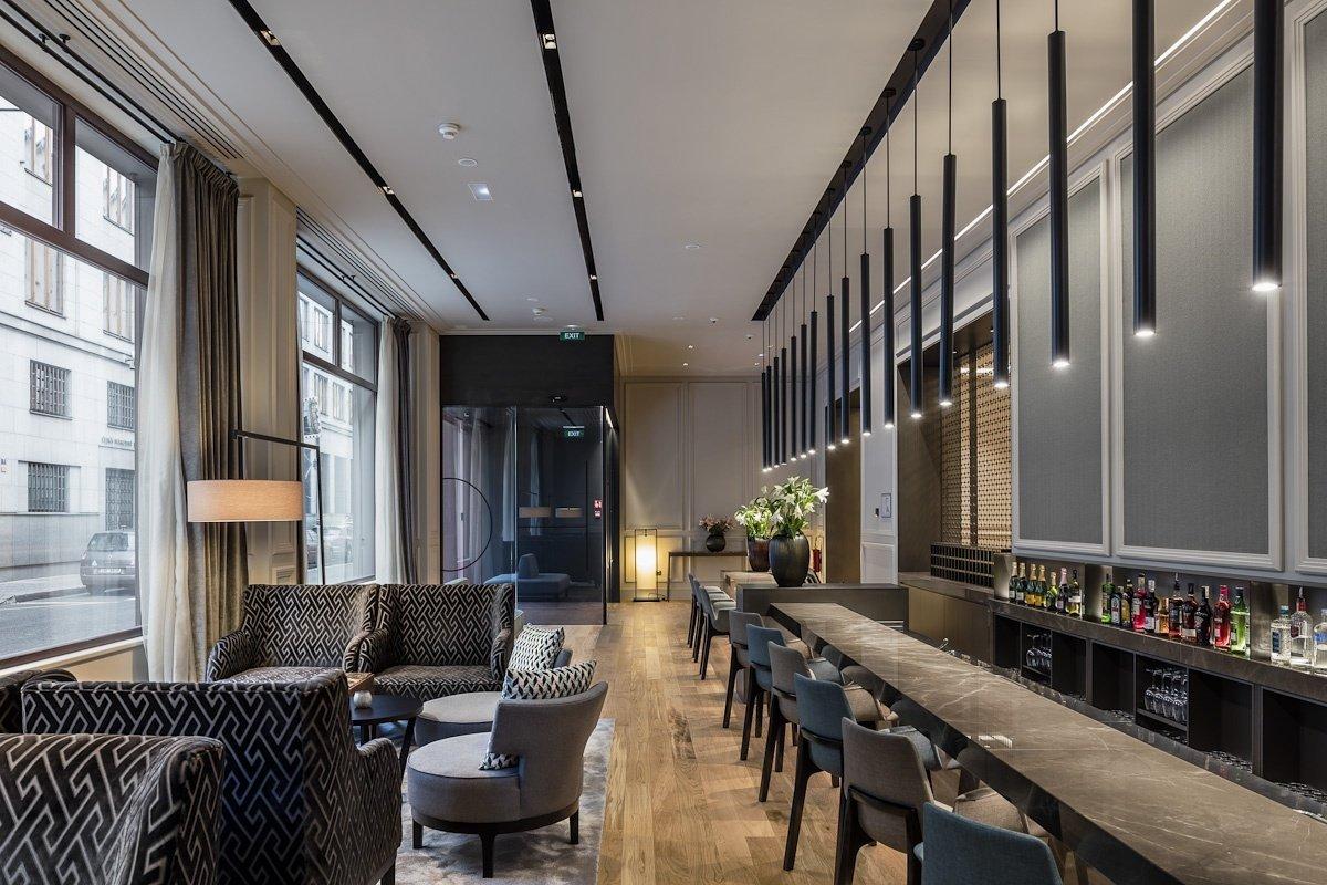 Living, Light Hardwood, Floor, Pendant, Chair, and Stools  Best Living Floor Stools Photos from BoHo Prague Hotel