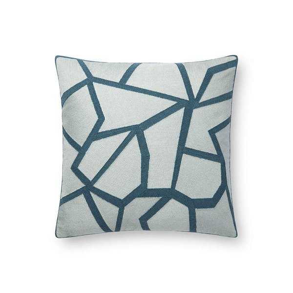 Now House by Jonathan Adler Chain Stitch Fractal Pillow, Tonal Teal