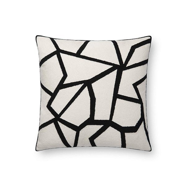 Now House by Jonathan Adler Chain Stitch Fractal Pillow, Black and White