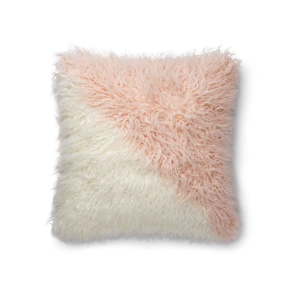 Now House by Jonathan Adler Faux Mongolian Fur Pillow, Pink and White