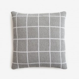 Grid Gray Knit Throw Pillow 18'' x 18''