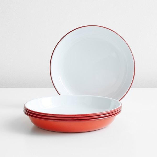 Falcon Enamelware Red Deep Plates Set of Four