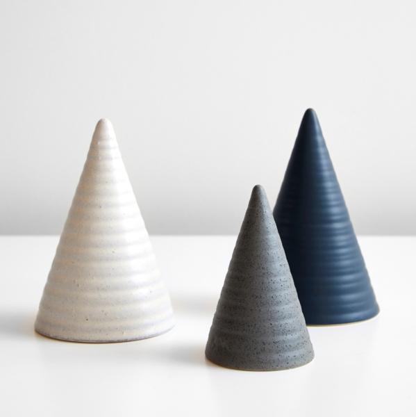 Ridged Ivory Large Glazed Cone