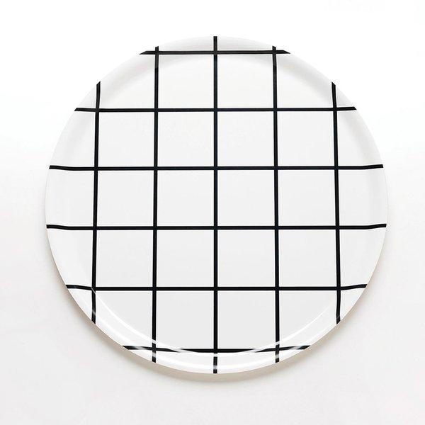 Grid Black Round Tray
