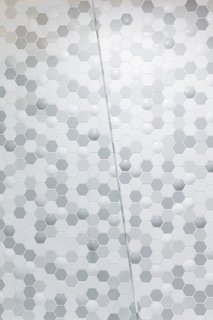 """A closer look at the raised texture in the """"bubble-hex"""" Clayhaus tile."""
