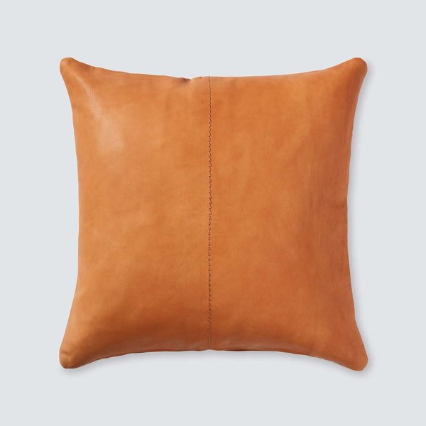 Cognac Leather Throw Pillow