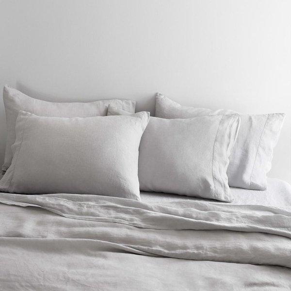 Stonewashed Linen Bed Bundle (Full Set, Light Grey)