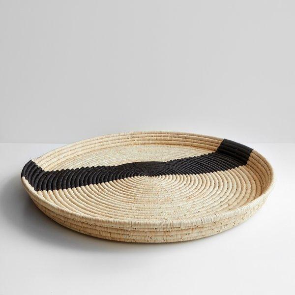 Striped Black and Natural Raffia Round Tray 27''