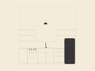 The team drew an initial kitchen sketch.