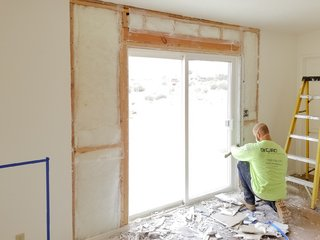 The team installed LaCantina French doors to frame the desert views.