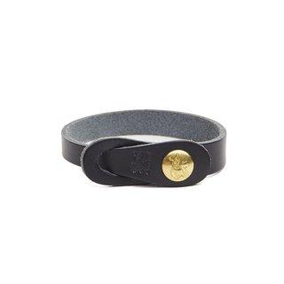 Il Bisonte Simple Cowhide Bracelet in Black