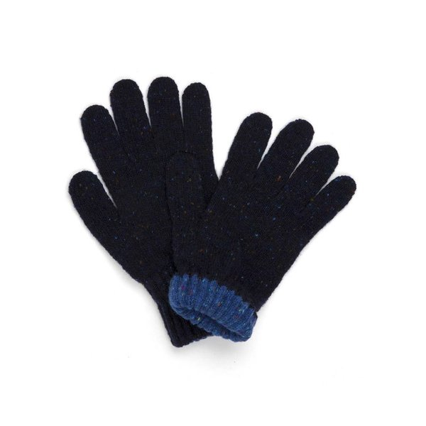 Drake's Navy Donegal Knit Tipped Gloves