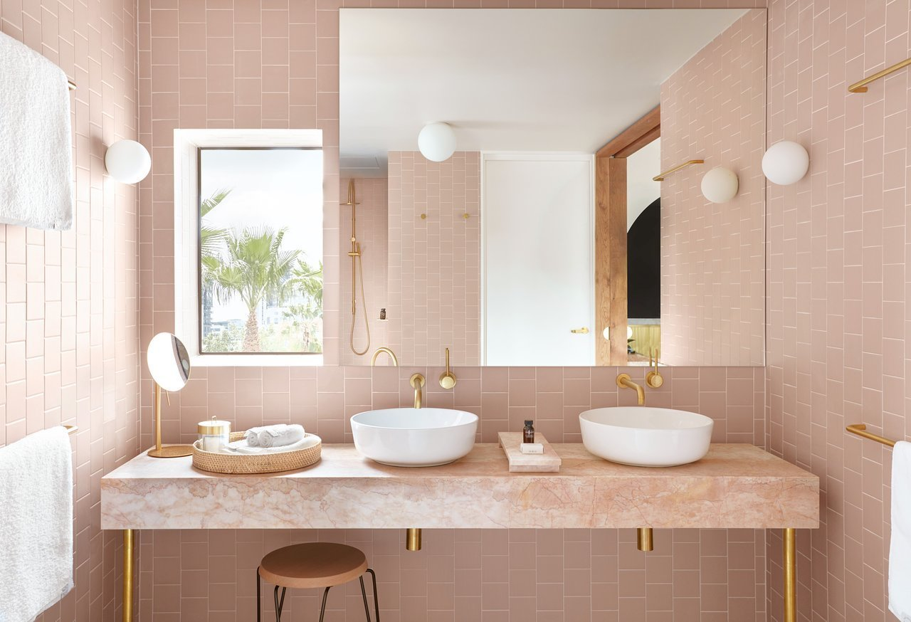 Bath Room, Ceiling Lighting, Wall Lighting, and Vessel Sink  The Calile Hotel