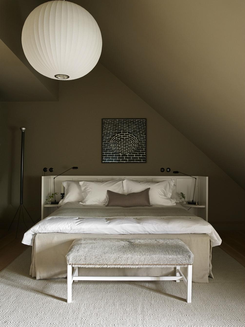 Bedroom, Pendant, Table, Rug, Bench, Night Stands, and Bed  Best Bedroom Bed Rug Bench Pendant Photos from Ett Hem