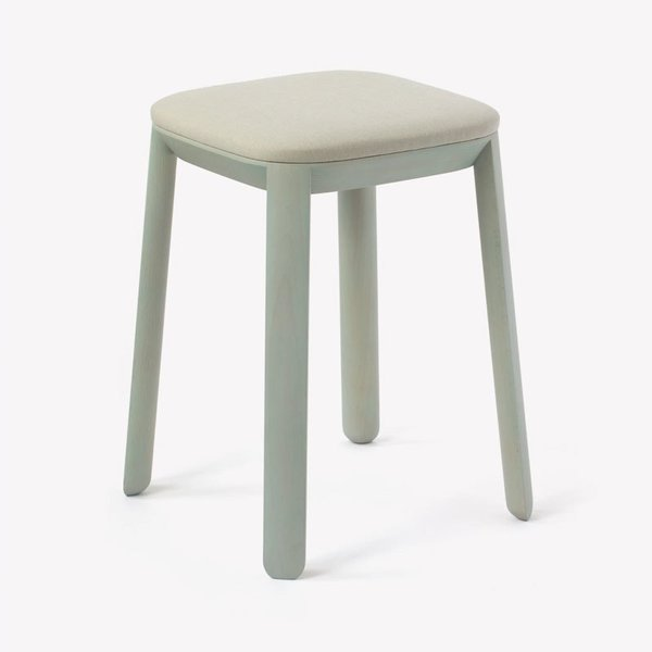Maharam Covered Stool, Pare, Elmwood