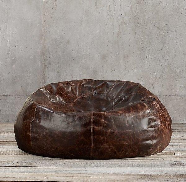 Restoration Hardware Grand Leather Bean Bag