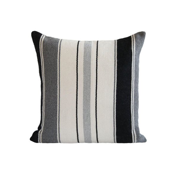 L'Aviva Home Alpaca Pillow - Greys + Black Stripe