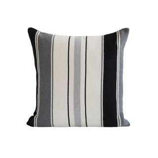L'Aviva Home Alpaca Pillow - Greys + Black Stripe