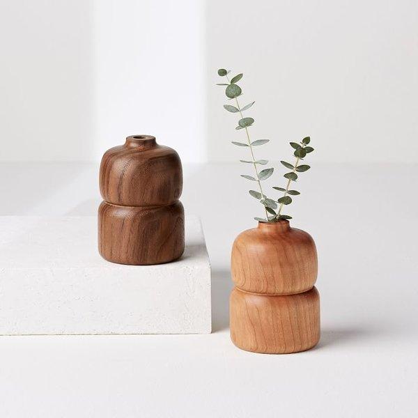 Melanie Abrantes Hardwood Bud Vase - Double