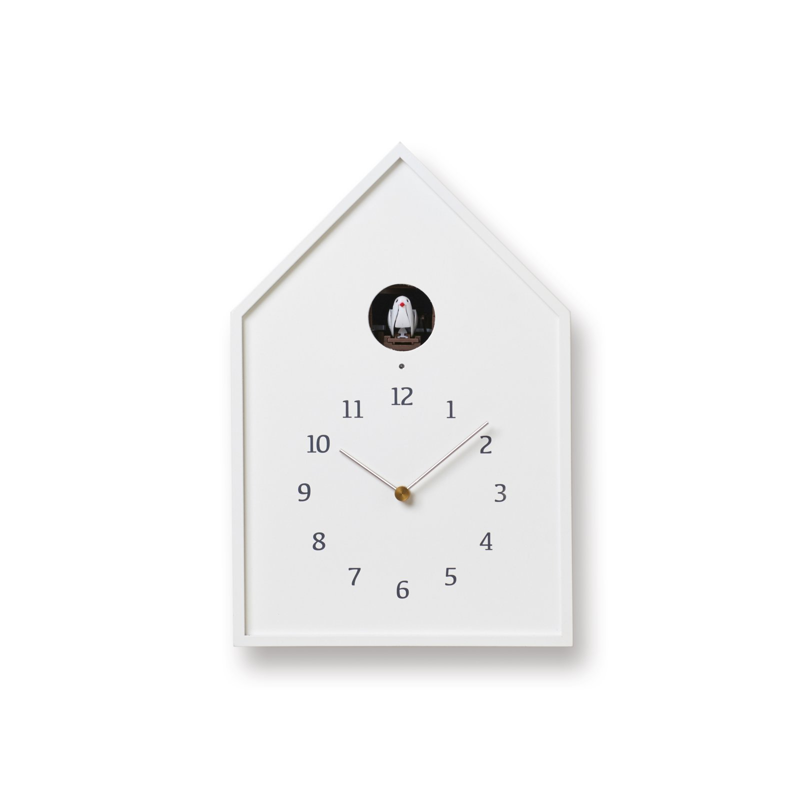 Lemnos Birdhouse Clock - White