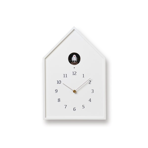 Lemnos Birdhouse Clock - White