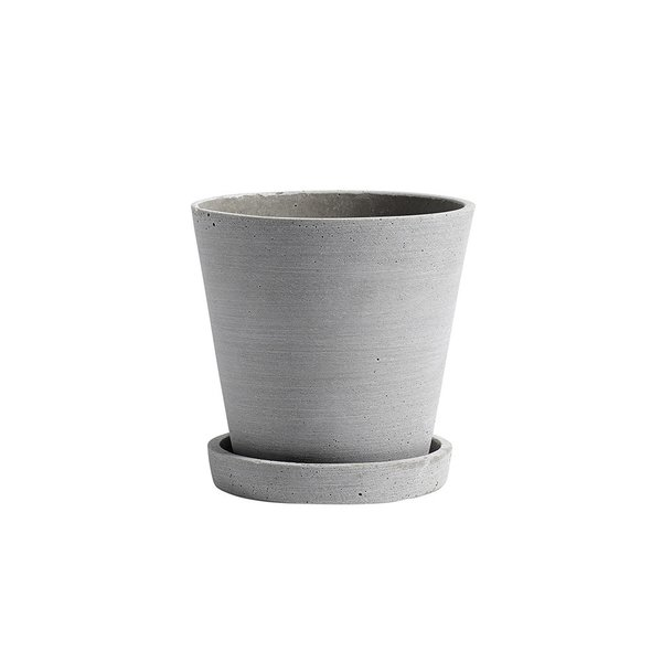 HAY Large Flowerpot with Saucer in Grey