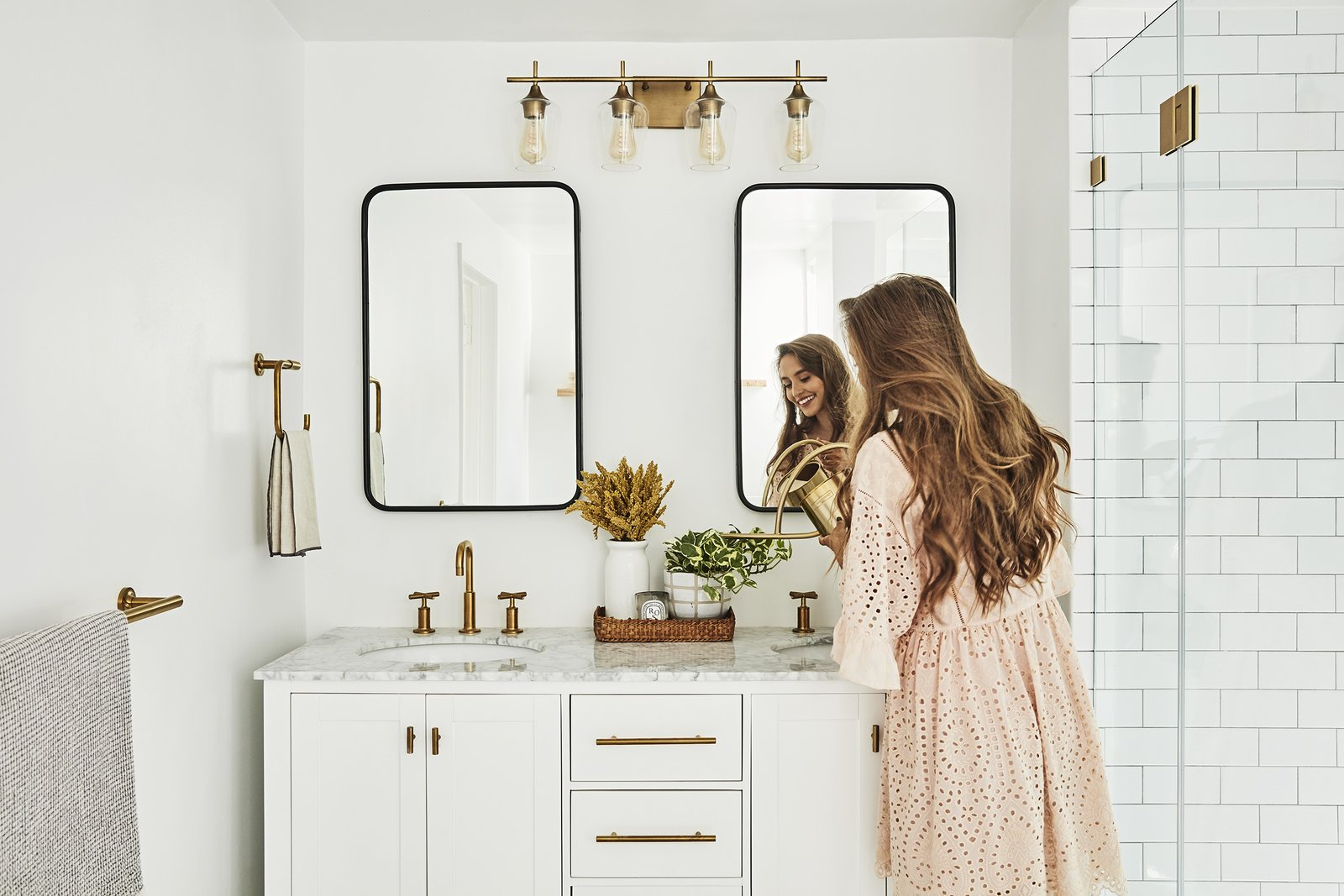Bath, Marble, Enclosed, Undermount, Wall, and Subway Tile  Best Bath Enclosed Wall Photos from Bathrooms We Love: Beauty and Home Vlogger Kristin Johns Showcases Her Glistening Bathroom in LA