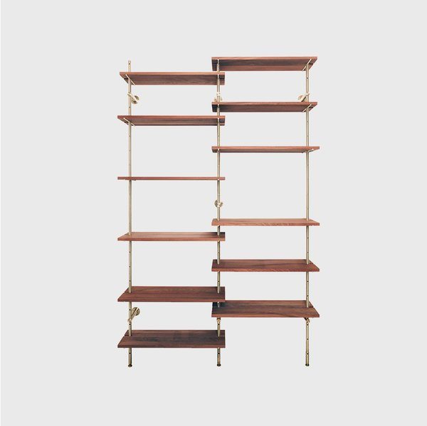 Object Interface Brass Rail Shelving