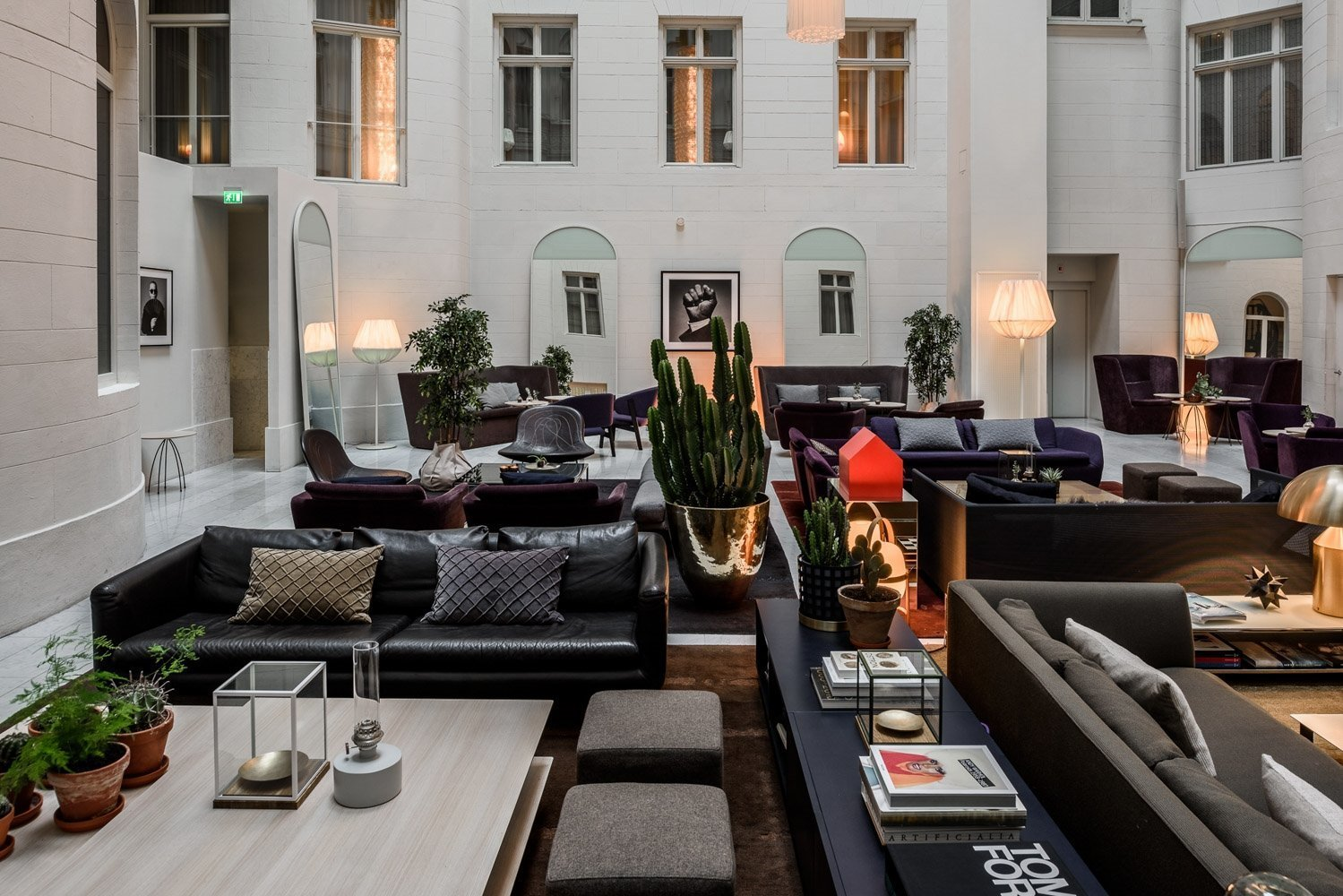 Living Room, Sofa, Chair, Coffee Tables, and Floor Lighting  Best Photos from Nobis Hotel