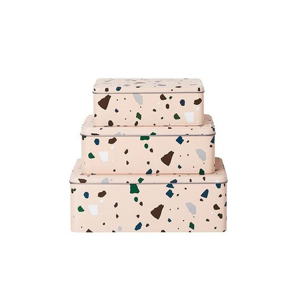 Ferm Living Set of 3 Terrazzo Tin Boxes