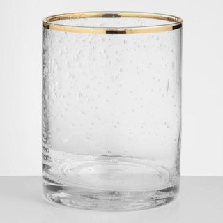 World Market Gold Rimmed Bubble Glass DOF Glasses Set Of 4