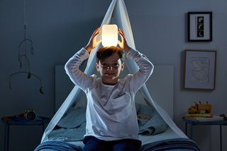 A built-in gyroscope allows you to control the lamp's brightness with a twist.