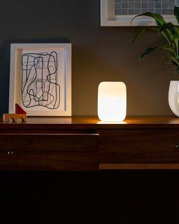 Casper's Glow Light has an oblong design that is matte white when not in use.
