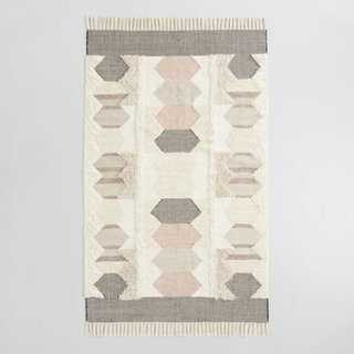 World Market Blush and Charcoal Geometric Wool Kilim Calypso Area Rug