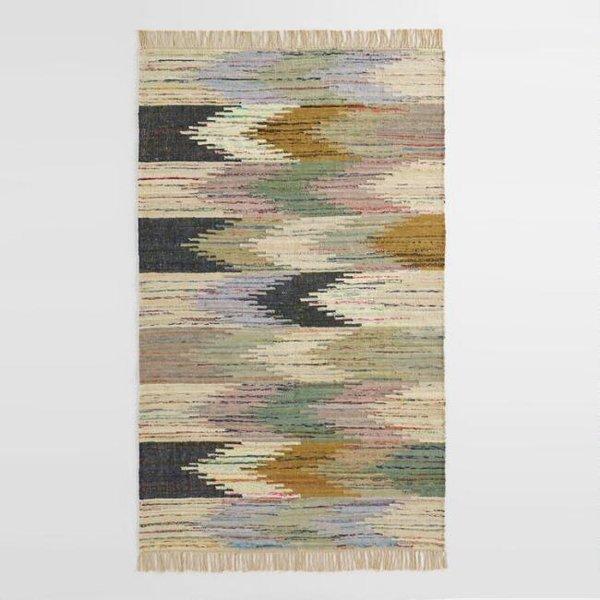 World Market Multicolor Abstract Chevron Cotton Kilim Sedona Area Rug