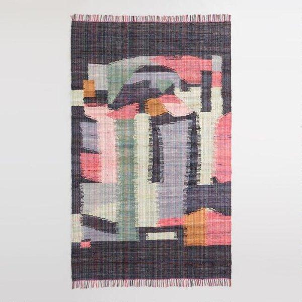 World Market Black Multicolor Abstract Cotton Chindi Cordes Area Rug