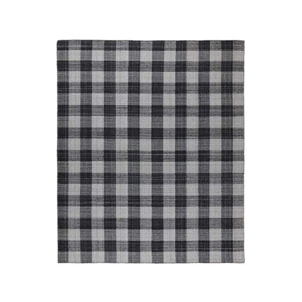 Stone & Beam Casual Plaid Rug, 5' x 8', Flatweave, Black, Gray, White