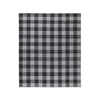 Stone & Beam Casual Plaid Rug, 5' x 8', Flatweave, Black, Gray, White
