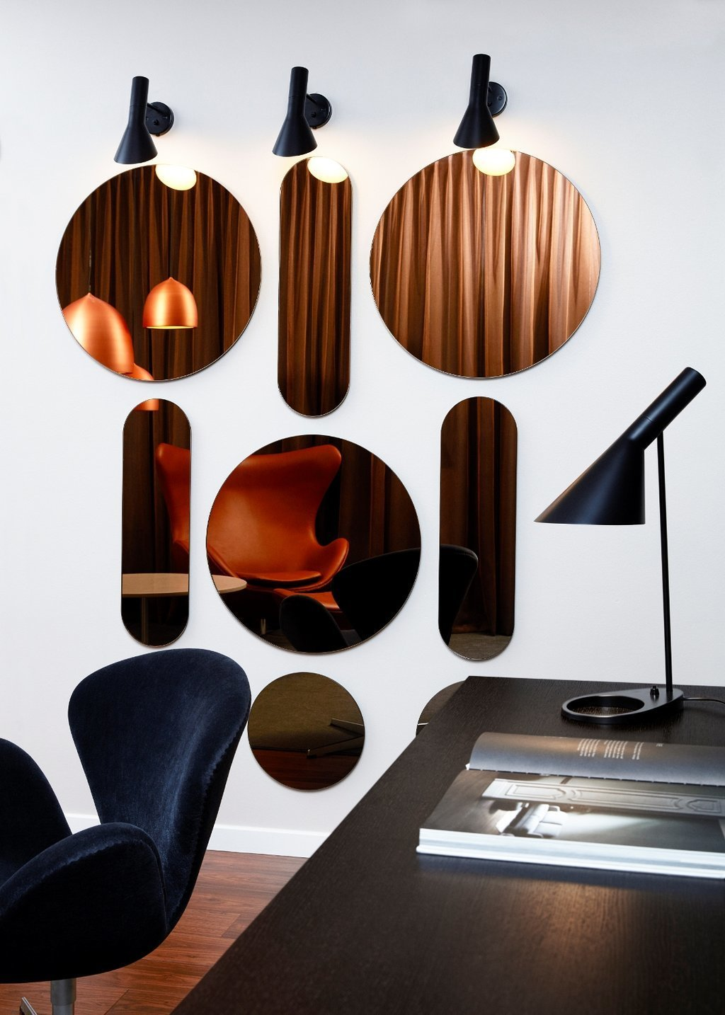 Living Room, Medium Hardwood Floor, Desk, Chair, Wall Lighting, and Table Lighting  Photos from Radisson Collection Royal Hotel, Copenhagen