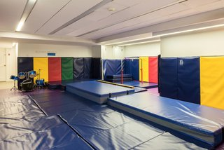"""""""The Willis Gym,"""" complete with padded walls and a drum kit."""